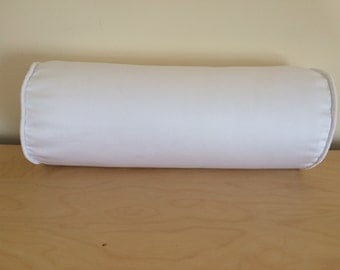 SALE White Bolster Pillow Cover, White Cotton Twill Bolster Pillow Cover, 6''x16''
