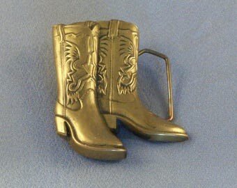 """Vintage Brass Cowboy Boots Belt Buckle // Marked 1979 // Baron Buckle // Solid Brass // """"BBB"""" // Cowboy Special //"""