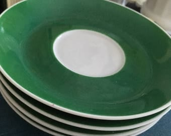 Vintage saucers, vintage green and white saucers, green and white plates, Fairwood China