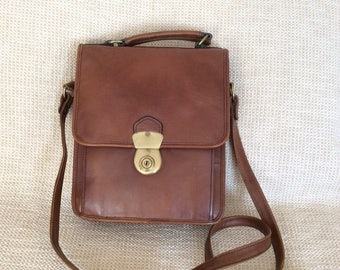 Vintage HIDESING brown leather flap messenger bag