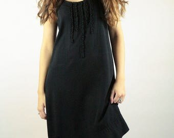 Black slip dress, boho dress with romantic details such as gathering and valance