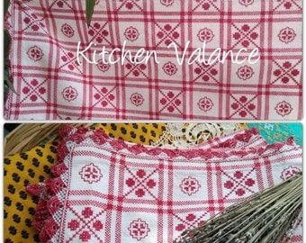 Vintage Red Check Kitchen Valance or Shelf Edging Red Hand Embroidered White Cotton French Farmhouse Linen Home Decor #sophieladydeparis