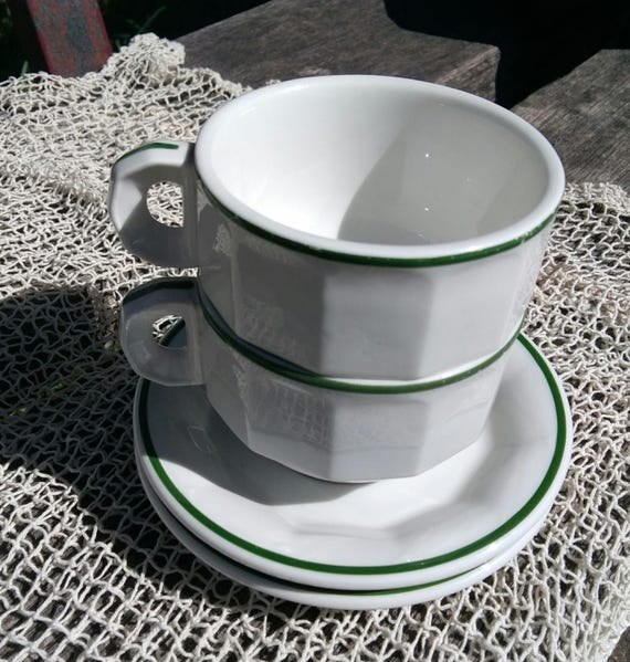 2 White French Bistro Café au Lait Cups and Saucers Green Trim 60's Vintage Breakfast Coffee Mugs Mehun Porcelain #sophieladydeparis