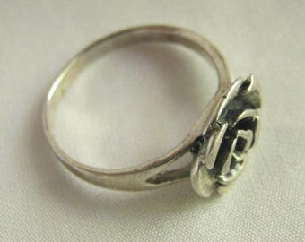 Vintage Sterling Silver Rose Signed TI Ring
