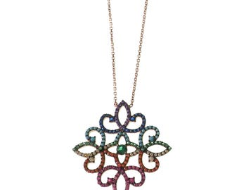 Curly Flower Necklace/ Multicolor Cubic Zirconia Necklace/ Rainbow/ Silver/ Rose Gold/