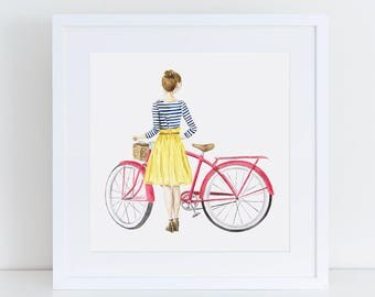 Fashion Girl with Coral Beach Cruiser Fine Art Watercolor Print