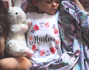 Personalized Girls shirt, Boho Baby Clothes, Personalized Baby Gift, Floral Wreath, Custom Baby Gift, Baby Shower Gift