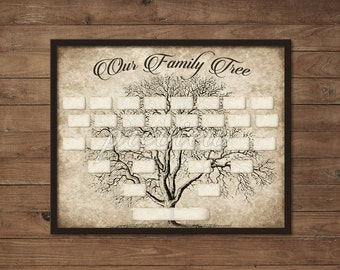 Vintage 5 Generation Family Tree Print Template - Instant Download - Printable, Wall Art, Ancestry, DIY Gift, Blank