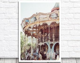 Carousel Photography, Paris Print, Merry Go Round, Paris Carousel, Paris Photo Print, Printable Photo, Printable Wall Art, Digital Print