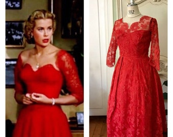 1950s Red Lace Dress Illusion neckline Prom Formal Evening Red