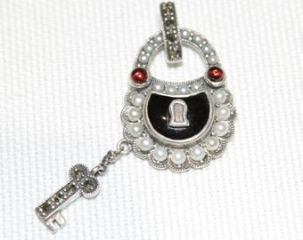 Sterling Silver Garnet, pearl & enamel lock and key pendant