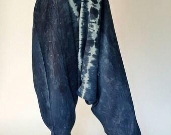 TD0004 Indigo Harem pants  Handmade tiedye pants, Thick Smock Waist Low Crotch, Women Yoga Harem Pants  - elastic waistband and cuff