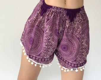 PP0034 Pom pom Shorts Beach Summer pants Freshy pants Fashion short Chic Clothing Aztec Ethnic Bohemian Ikat Boxers Short Pants Unique