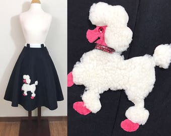 1950s Vintage Skirt / 50s poodle skirt / Swing Skirt / black and pink
