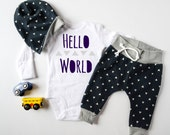 Baby Boy Coming Home Outfit: CHOOSE YOUR COMBO Hello World Triangles Bodysuit, Navy Triangle Harem Jogger Legging Pants, Slouchy Hat