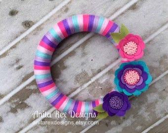 Spring Yarn Wreath, Easter Wreath, Easter Yarn Wreath, Felt Flowers Wreath, Handmade Decor, Lavender Pink Aqua