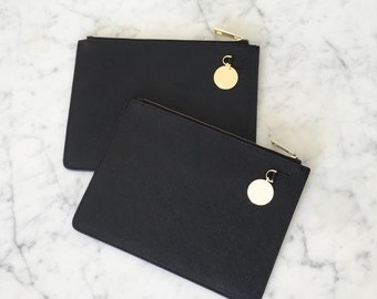 Phoebe - Leather Clutch Bag with Monogrammed Charm