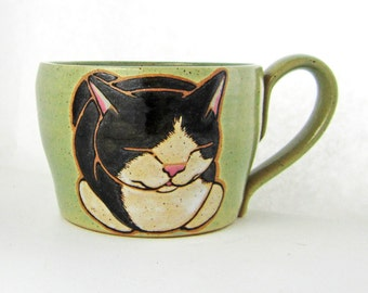 Tuxedo Cat Loaf Cappuccino Soup Mug, pottery mug, soup mug, tuxedo cat, great Christmas gift, approx 20 oz, dishwasher and microwave safe