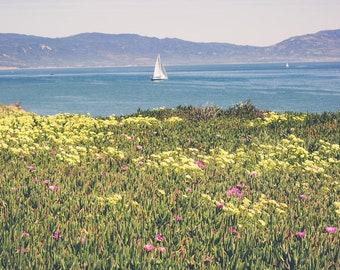 California photography, beach photography, santa barbara, coastal decor, beach house, sailboat, large wall art, nautical, seaside, landscape