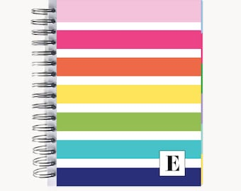 Daily Sidekick Planner – Personalized  | Monthly Calendar | To Do List | Hourly | Organizer | Agenda | Bound | Rainbow Stripe