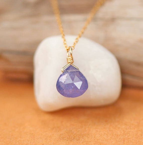 Tanzanite necklace - drop necklace - crystal necklace - purple necklace - tiny necklace - floating necklace