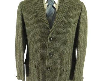 Vintage 60s Harris Tweed Scottish England Wool Sport Coat Jacket 40 [H25G_2-12]