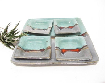 Serving Plate and Dishes, Tapas Plates, Sushi Set. Gift Set, Handmade Pottery, Teal and Grey, Landscape Design