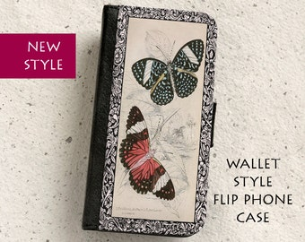 iPhone Case (all models) - Butterflies - Vintage Illustration - Wallet style flip case -  Samsung Galaxy S4,S5,S6,S7Edge,Note5 & more