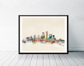 louisville kentucky . louisville city skyline.louisville cityscape. colorful watercolor skyline.Giclee art print.color your world with bri.