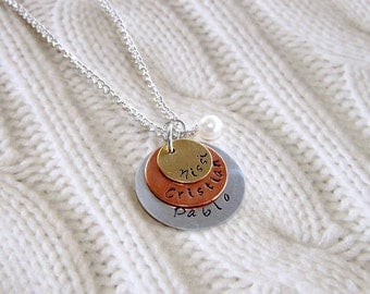 Personalized Handstamped Necklace- Name Necklace- Sterling Silver- Mom Necklace- 3 discs