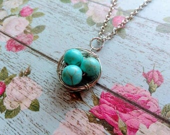 Bird Nest Necklace - Mother's Day Jewelry - Turquoise Beads- Mom Necklace
