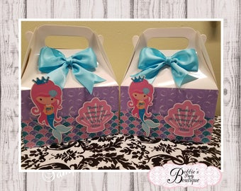 Mermaid party favor box, Mermaid gable box, 10 Mermaid party favor gable box, Mermaid favor box