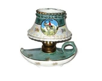 Vintage Oil Lamp Japan Porcelain Aladdin RCMP Royal Canadian Mounted Police Lusterware Souvenir Oil Lamp Miniature Lantern Horse Canada