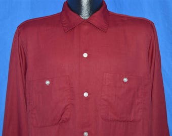 50s Maroon Rayon Rockabilly Shirt Medium