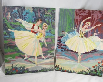 Ballerina Dancers Paint By Number Paintings PBN Vintage
