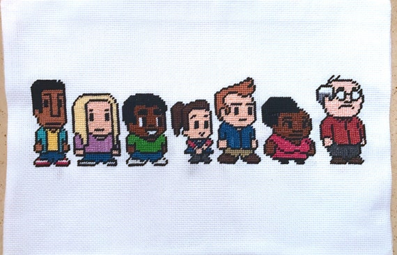 Community TV Show Video Game 8-bit Style Characters Handmade Cross Stitch Embroidery
