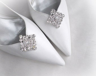 Vintage art deco style very sparkly square brooch 3 x 3 cm wedding bridal party shoe clips