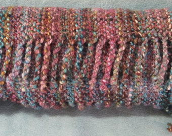 Chaos II -- hand woven merino wool scarf in multiple shades of turquoise, pink, grey, and cream