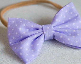 Lavender White Polka Dot Spring Bow & Bow tie
