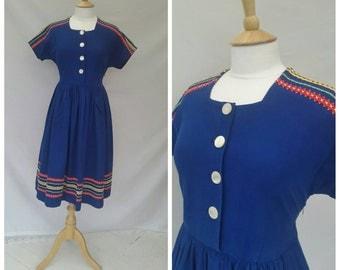 1940s Day Dress, Royal Blue, UK size 10, US size 8.