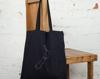 New Zealand map - Map bag - NZ map - Tote bag - Map of New Zealand - Best friend gift - New Zealand art - Personalised map - Emigration gift