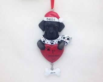 FREE SHIPPING Labrador Retriever Personalized Christmas Ornament / Black Lab Ornament / Dog Ornament