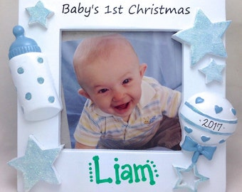"""FREE SHIPPING Photo Frame with """"Baby's 1st Christmas"""" / Baby Boy Personalized Christmas Frame / Personalized Photo Frame / Gift for New Mom"""