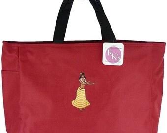 Hula Dancer Tropical Vacation Beach Bag Honeymoon Monogram Custom Embroidered Essential Tote