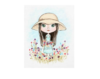 Flower Girl, Girls Wall Art, floral wall art, childrens wall art