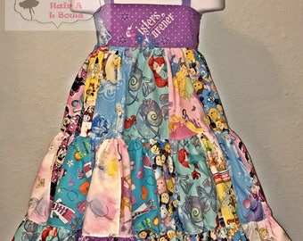Disney theme patchwork dress
