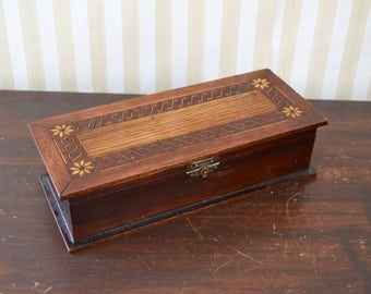 Vintage Wooden Box with Inlay