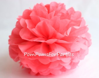 1 High Quality CORAL Tissue Pom Pom - Choose any of 50 colours - Hanging  Paper flower - Tissue paper balls - Tissue paper pom poms