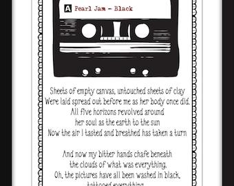 Pearl Jam Black Print, Pearl Jam Lyrics Print, Pearl Jam Black Lyrics, Eddie Vedder Print, Unframed Print