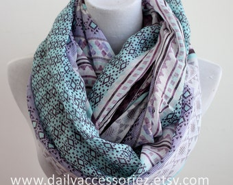 Aztec Scarf, Purple and Mint Aztec Infinity Scarf, Gift For Her, Scarf For Her, Christmas Gifts Idea, For Her, For Mom, For Girlfriends